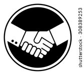 handshake with black circle... | Shutterstock .eps vector #308389253