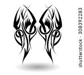 hand drawn tribal tattoo in... | Shutterstock .eps vector #308392283