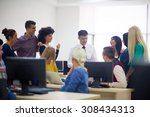 group of students with teacher... | Shutterstock . vector #308434313