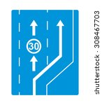 traffic sign  start of slow... | Shutterstock .eps vector #308467703