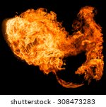 fireball isolated on a black... | Shutterstock . vector #308473283