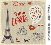 vintage card of paris | Shutterstock .eps vector #308479463