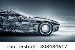 speeding car concept | Shutterstock . vector #308484617