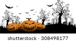 halloween background with ghost ... | Shutterstock .eps vector #308498177