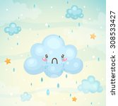 cute cloud with tears of... | Shutterstock .eps vector #308533427