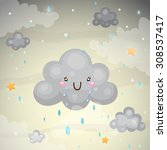 cute dark cloud with tears of...   Shutterstock .eps vector #308537417