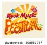 rock music festival logo. retro ...