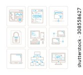 set of vector computer icons... | Shutterstock .eps vector #308558627