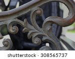 Wrought Iron Grip On Bench Close