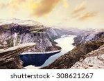 norway scenic mountain... | Shutterstock . vector #308621267
