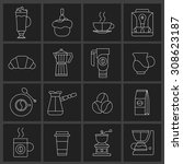 coffee icons outline set with... | Shutterstock . vector #308623187