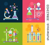 chemistry decorative flat icons ... | Shutterstock . vector #308623433