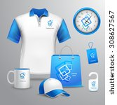 corporate identity blue... | Shutterstock . vector #308627567