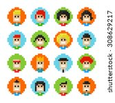 16 circles pixel male and... | Shutterstock .eps vector #308629217