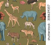 seamless animal planet pattern... | Shutterstock .eps vector #308639357