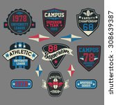 patch graphics  varsity sports... | Shutterstock .eps vector #308639387