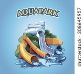 four water hills in an aquapark.... | Shutterstock .eps vector #308645957