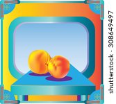 peaches sitting on a table in... | Shutterstock .eps vector #308649497