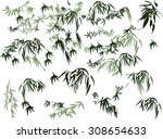 illustration with bamboo... | Shutterstock .eps vector #308654633