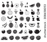 fruit icons set  black isolated ... | Shutterstock .eps vector #308658053