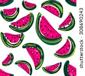 watermelon slice pattern. hand... | Shutterstock .eps vector #308690243