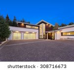 facade of large  luxury home... | Shutterstock . vector #308716673