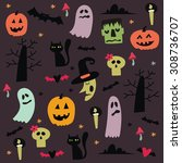 happy halloween vector card... | Shutterstock .eps vector #308736707
