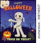 vintage halloween poster design ... | Shutterstock .eps vector #308748527