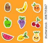 cute cartoon fruit characters... | Shutterstock .eps vector #308755367
