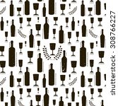 seamless pattern with wine... | Shutterstock . vector #308766227