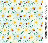 seamless pattern with chamomile ... | Shutterstock . vector #308772947