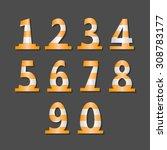 warning font  numbers set. | Shutterstock .eps vector #308783177