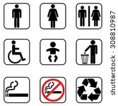 toilet restroom icons | Shutterstock .eps vector #308810987