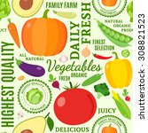 typographic vector vegetables... | Shutterstock .eps vector #308821523