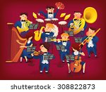 people in musicians pit playing ... | Shutterstock .eps vector #308822873