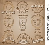 set of hand drawn sketch brown... | Shutterstock .eps vector #308824973