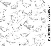 seamless lingerie pattern.... | Shutterstock .eps vector #308828837