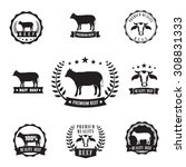 cow beef sihouette symbol for... | Shutterstock .eps vector #308831333