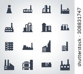 vector black factory icon set... | Shutterstock .eps vector #308831747