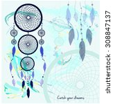 colorful dreamcatcher.catch... | Shutterstock .eps vector #308847137