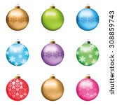 set of festive christmas... | Shutterstock .eps vector #308859743