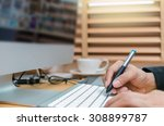 closeup and writing and press... | Shutterstock . vector #308899787
