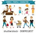 set of full body diverse... | Shutterstock .eps vector #308901857