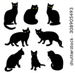 Stock vector black cats silhouette set in cartoon style 308905493