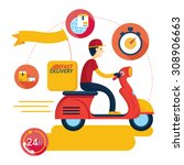 delivery boy ride scooter... | Shutterstock .eps vector #308906663