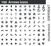 100 arrows icons set  black  on ...