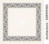 vintage baroque floral frame.... | Shutterstock .eps vector #308909483