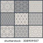 vintage seamless background set ... | Shutterstock .eps vector #308909507