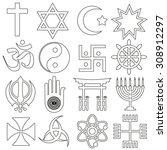 world religions symbols vector... | Shutterstock .eps vector #308912297