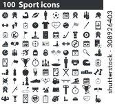 100 sport icons set....   Shutterstock .eps vector #308926403